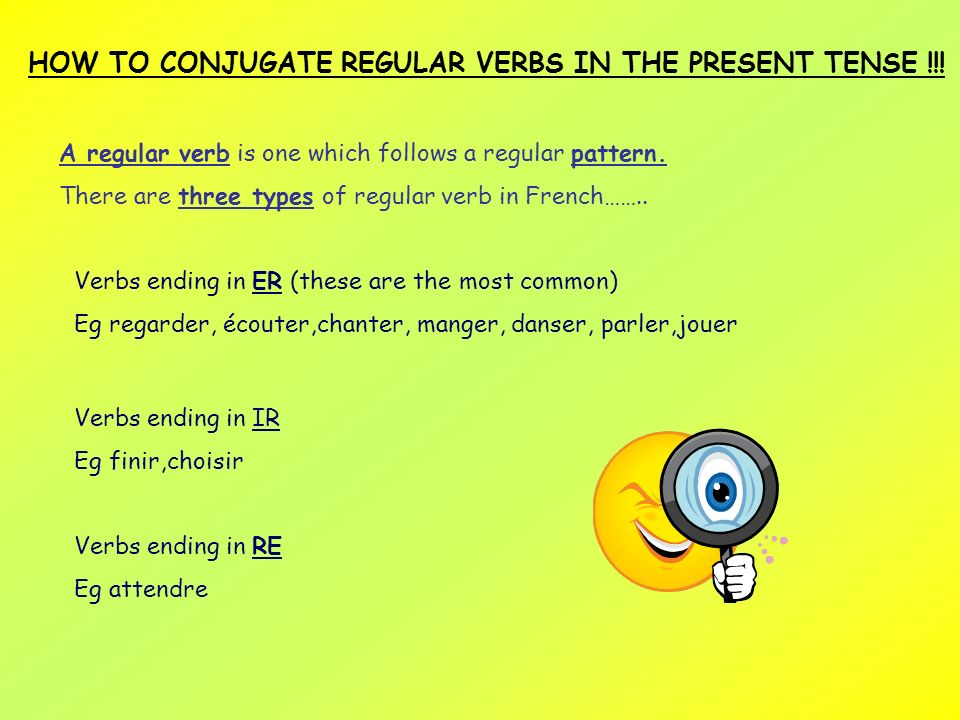 HOW TO CONJUGATE REGULAR VERBS IN THE PRESENT TENSE !!!
