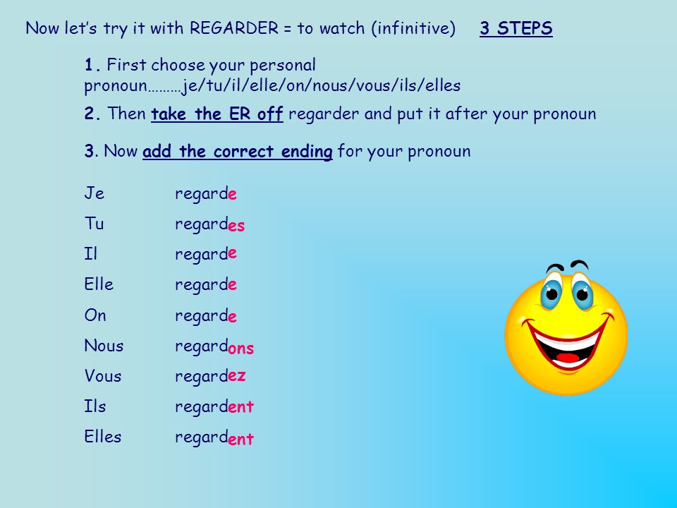 Now let's try it with REGARDER = to watch (infinitive) 3 STEPS