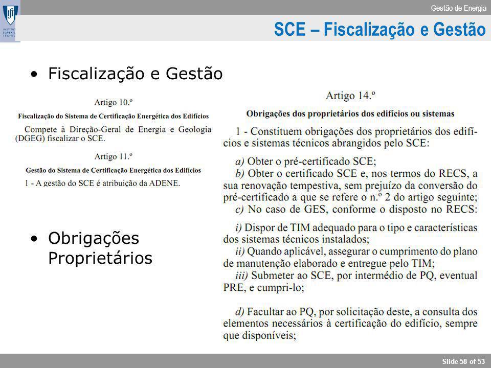 SCE – Fiscalização e Gestão