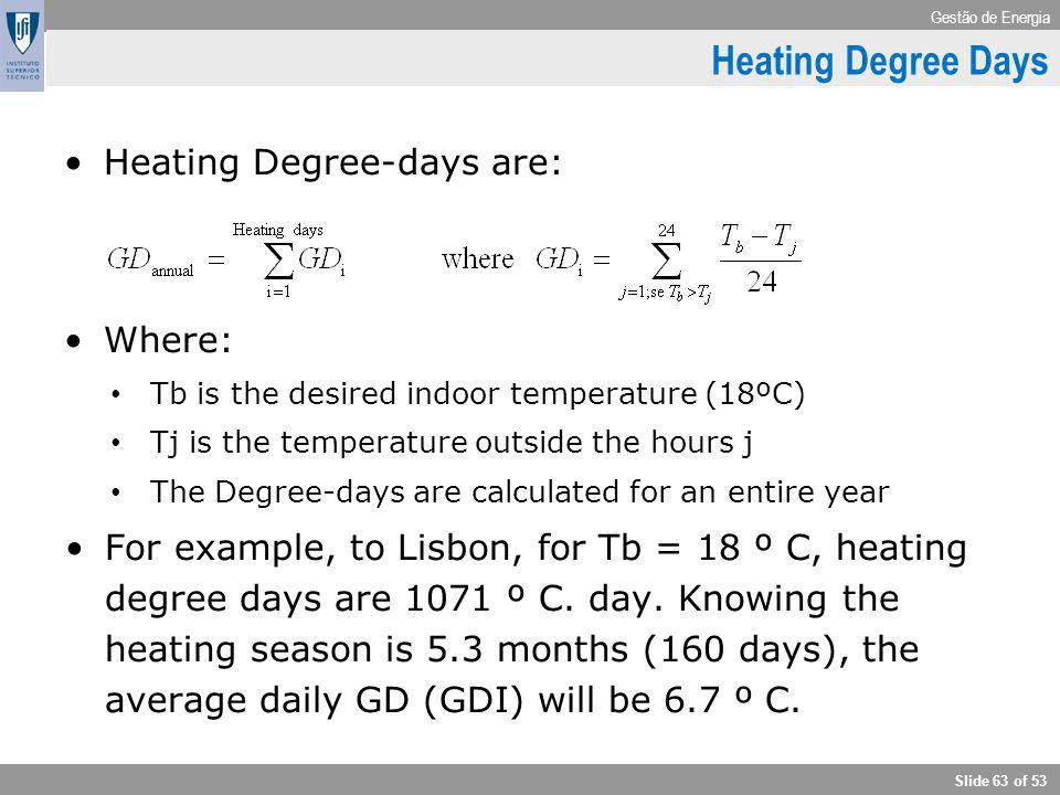Heating Degree Days Climate Heating Degree-days are: Where: