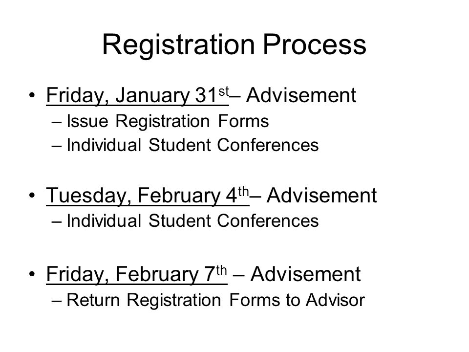Registration Process Friday, January 31st– Advisement
