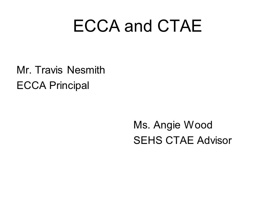 ECCA and CTAE Mr. Travis Nesmith ECCA Principal