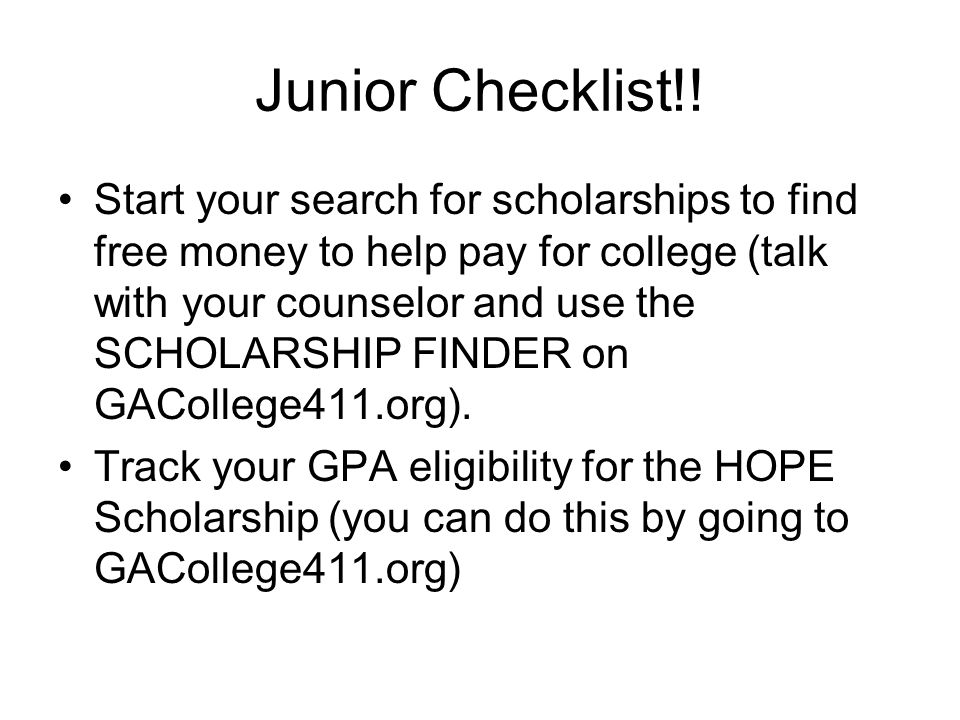 Junior Checklist!!