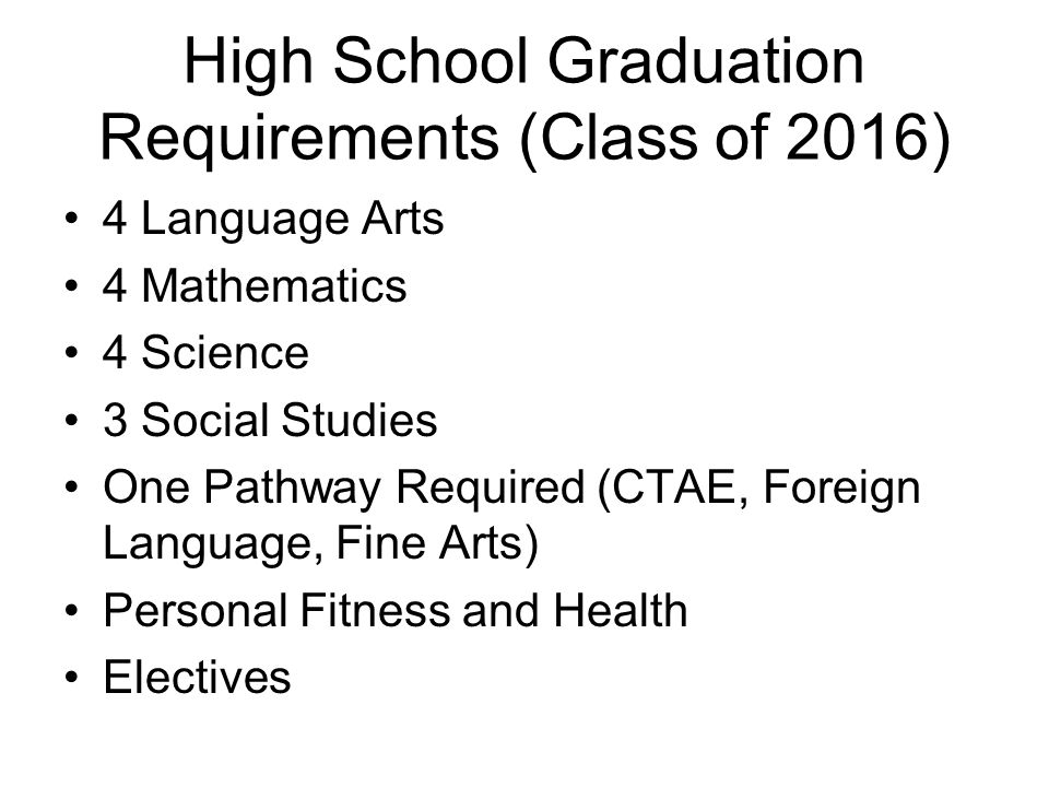 High School Graduation Requirements (Class of 2016)