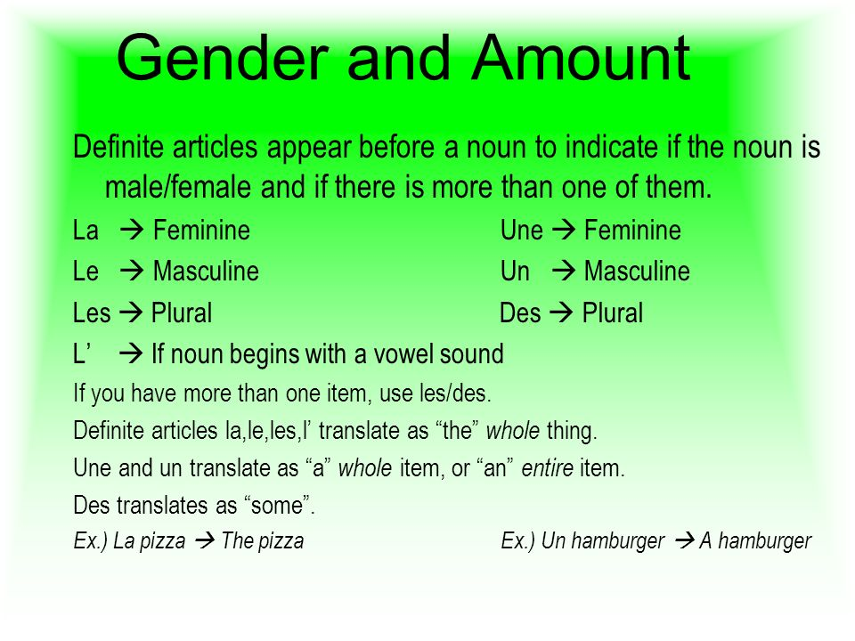 Gender and Amount Definite articles appear before a noun to indicate if the noun is male/female and if there is more than one of them.