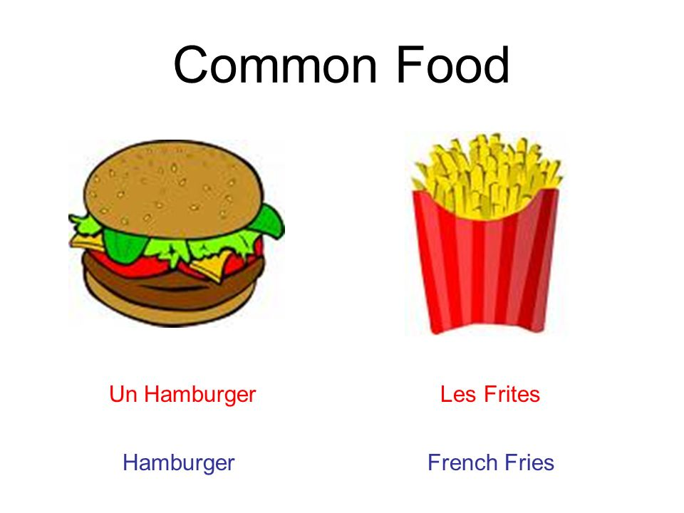 Common Food Un Hamburger Les Frites Hamburger French Fries