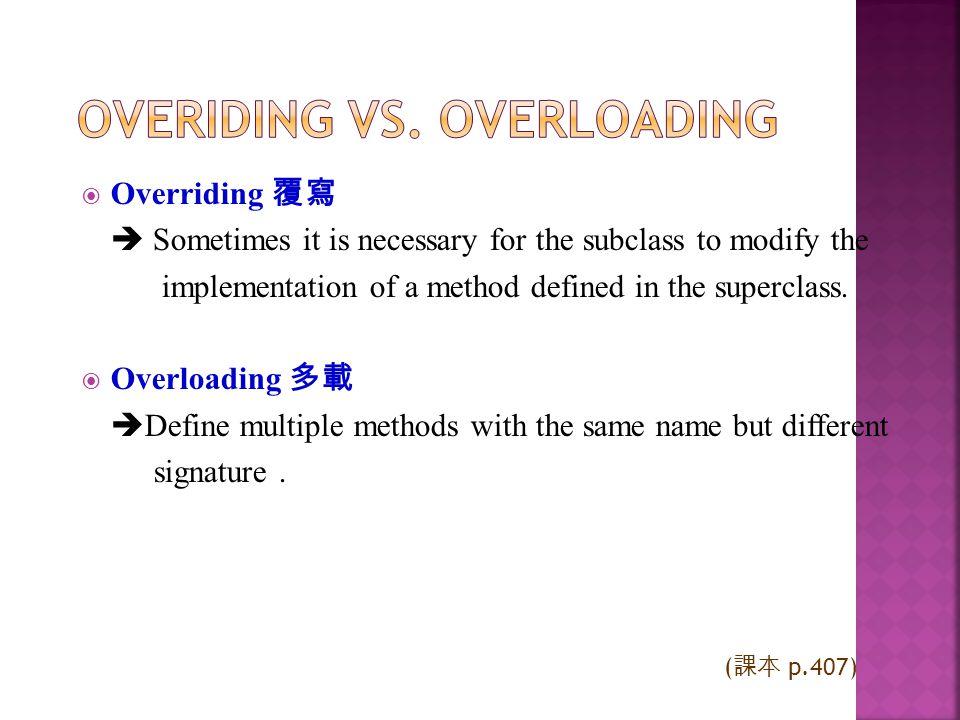 Overiding vs. Overloading