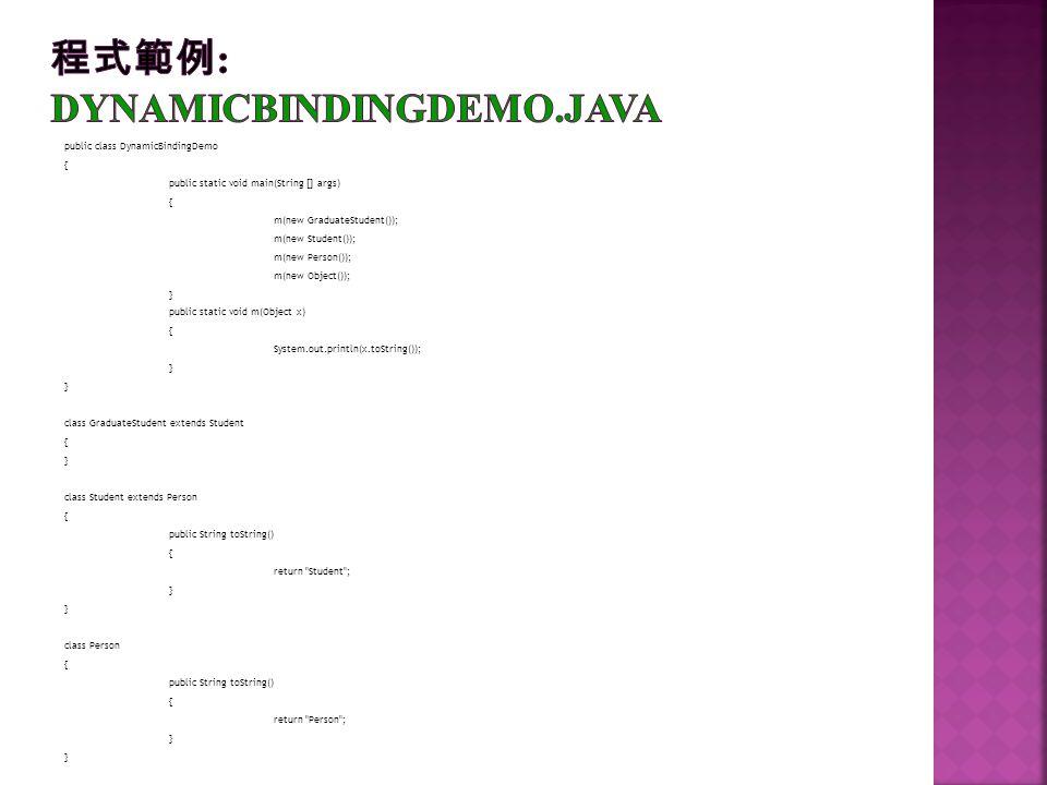 程式範例: DynamicBindingDemo.java