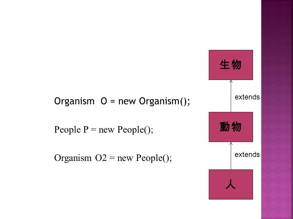 生物 動物 人 Organism O = new Organism(); People P = new People();