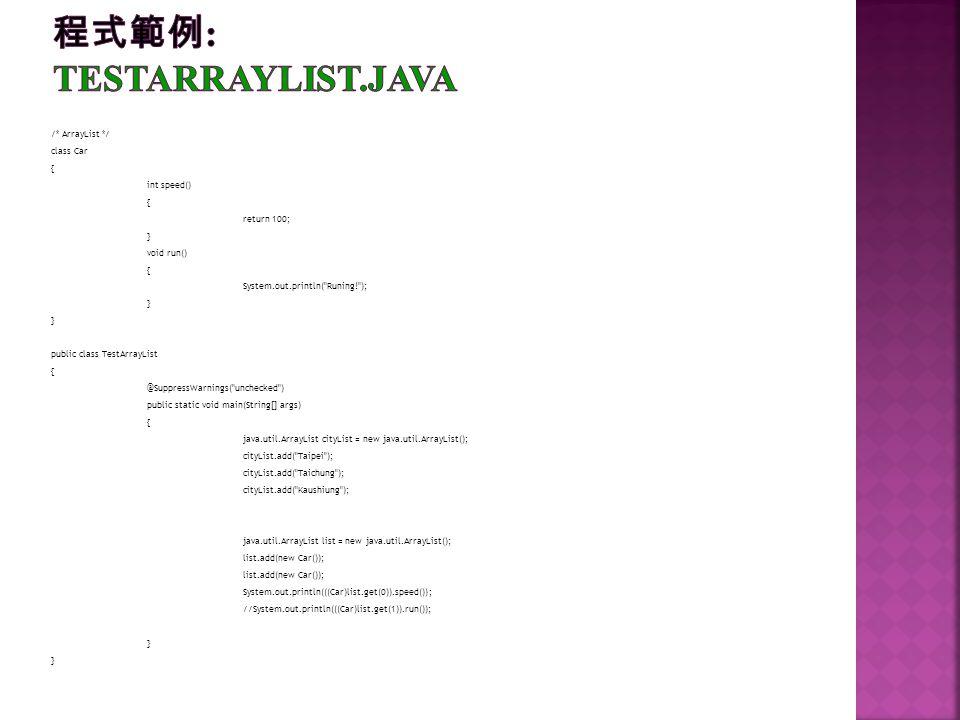 程式範例: TestArrayList.java