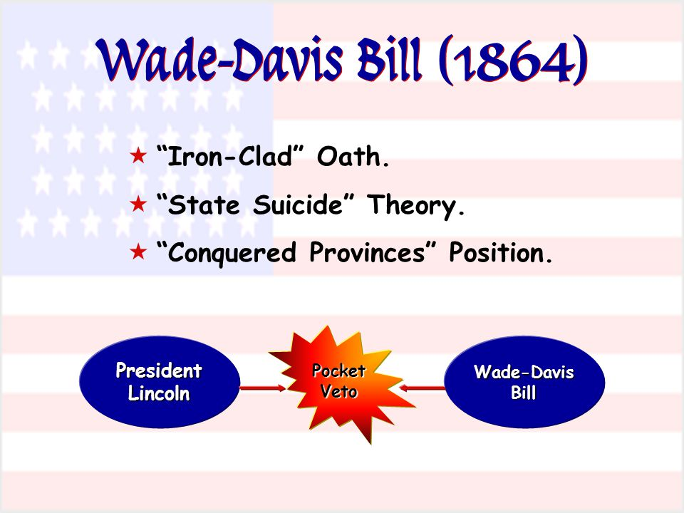 Wade-Davis Bill (1864) Iron-Clad Oath. State Suicide Theory.