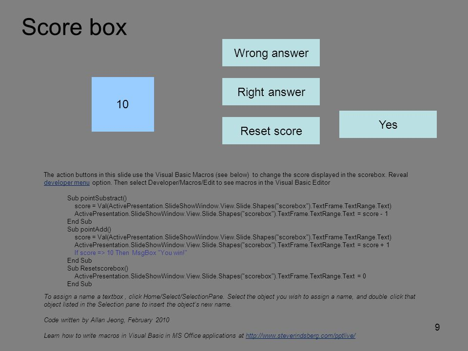 Score box Wrong answer Right answer 10 Yes Reset score