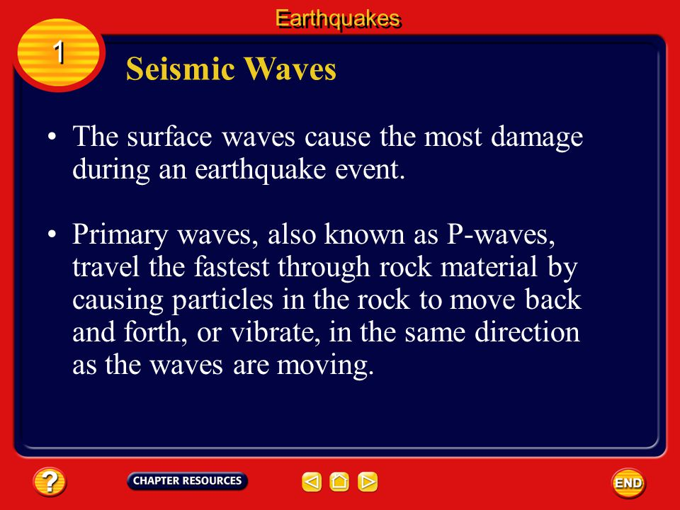 Earthquakes 1. Seismic Waves. The surface waves cause the most damage during an earthquake event.
