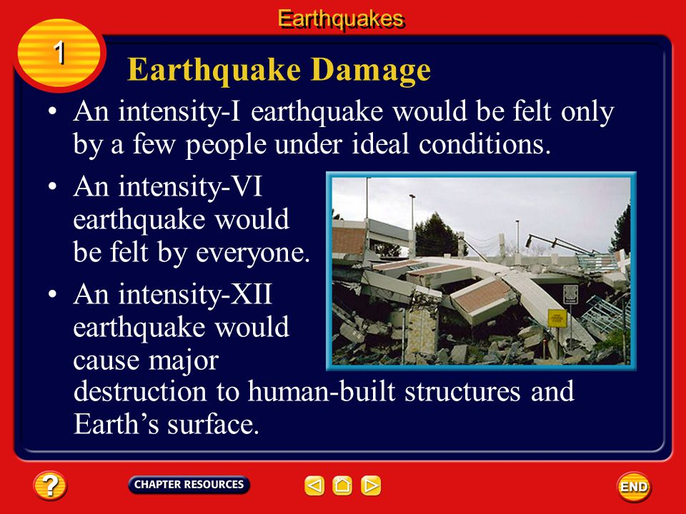 Earthquakes 1. Earthquake Damage. An intensity-I earthquake would be felt only by a few people under ideal conditions.