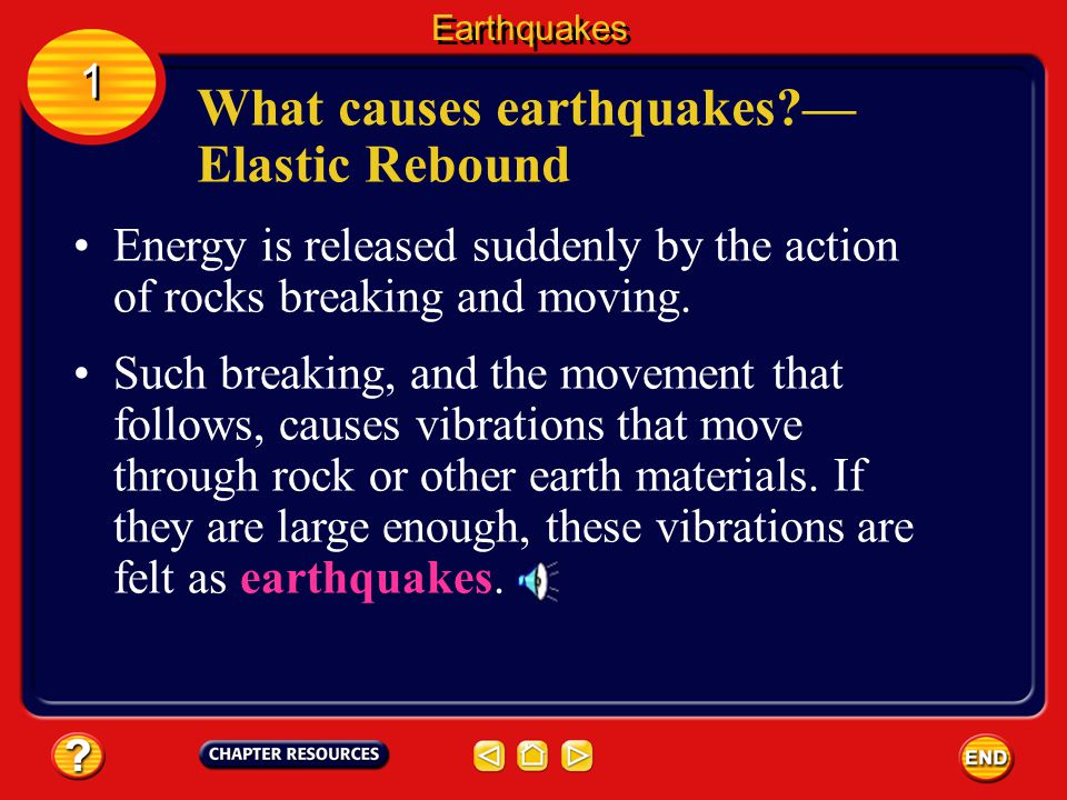 What causes earthquakes — Elastic Rebound