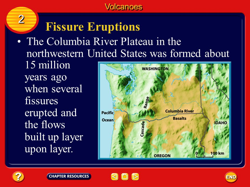 Volcanoes 2. Fissure Eruptions. The Columbia River Plateau in the northwestern United States was formed about.