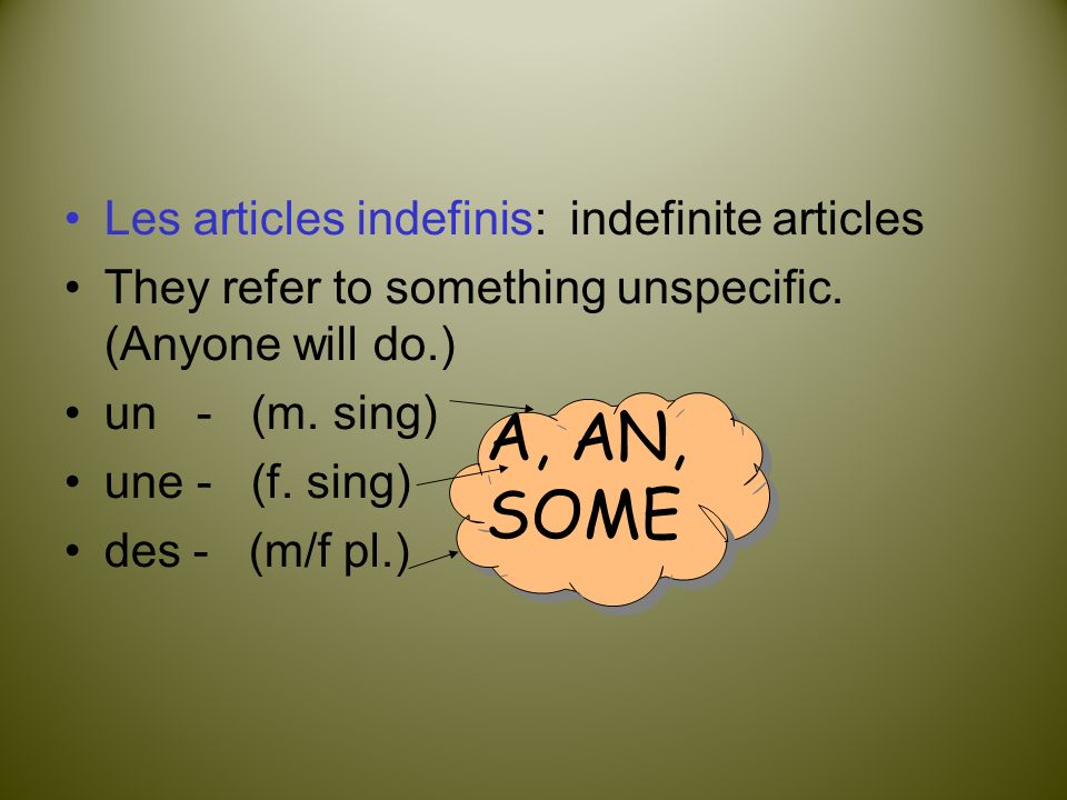 A, AN, SOME Les articles indefinis: indefinite articles