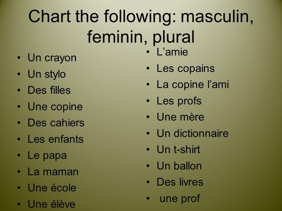 Chart the following: masculin, feminin, plural
