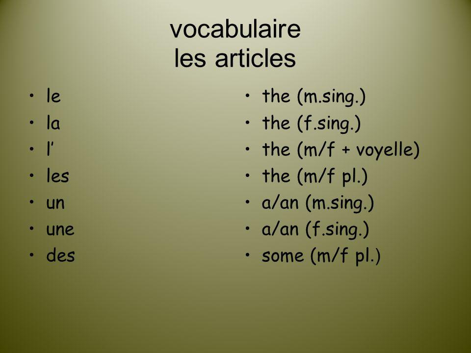 vocabulaire les articles
