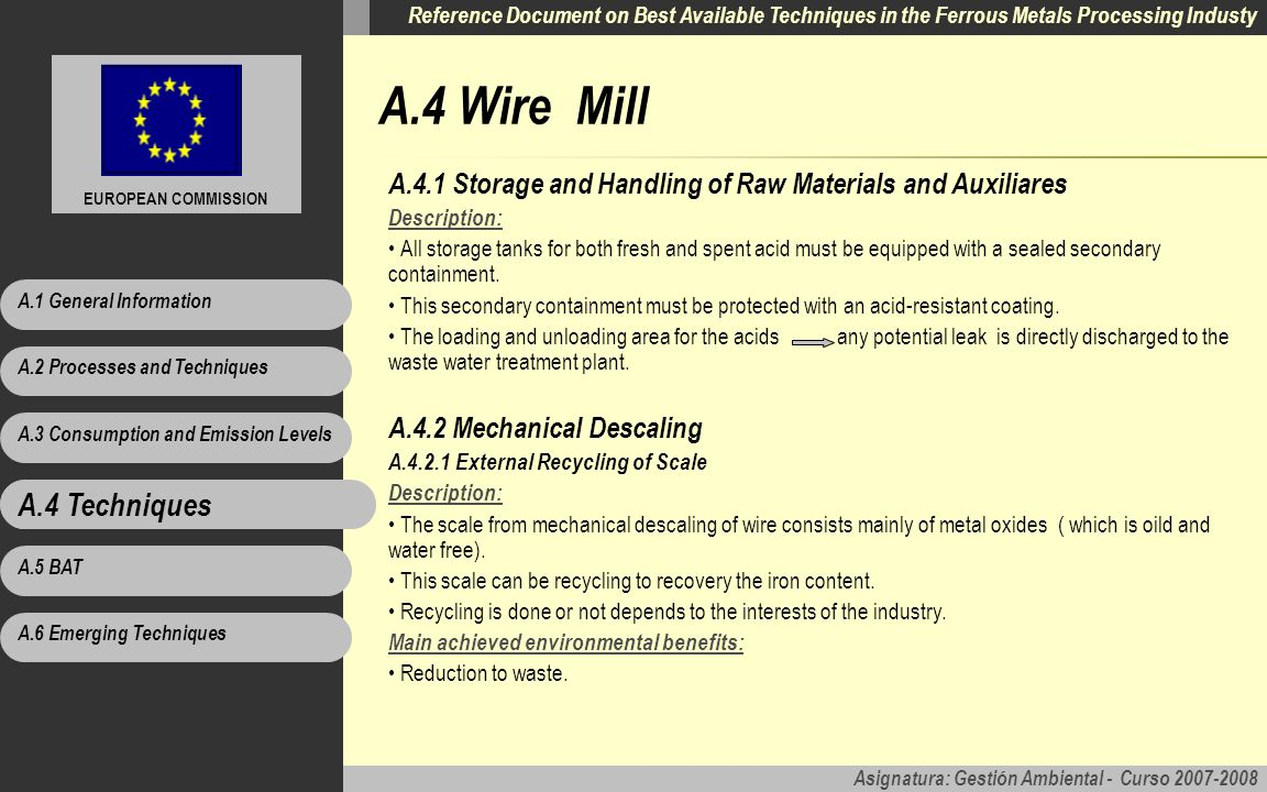 A.4 Wire Mill A.4 Techniques