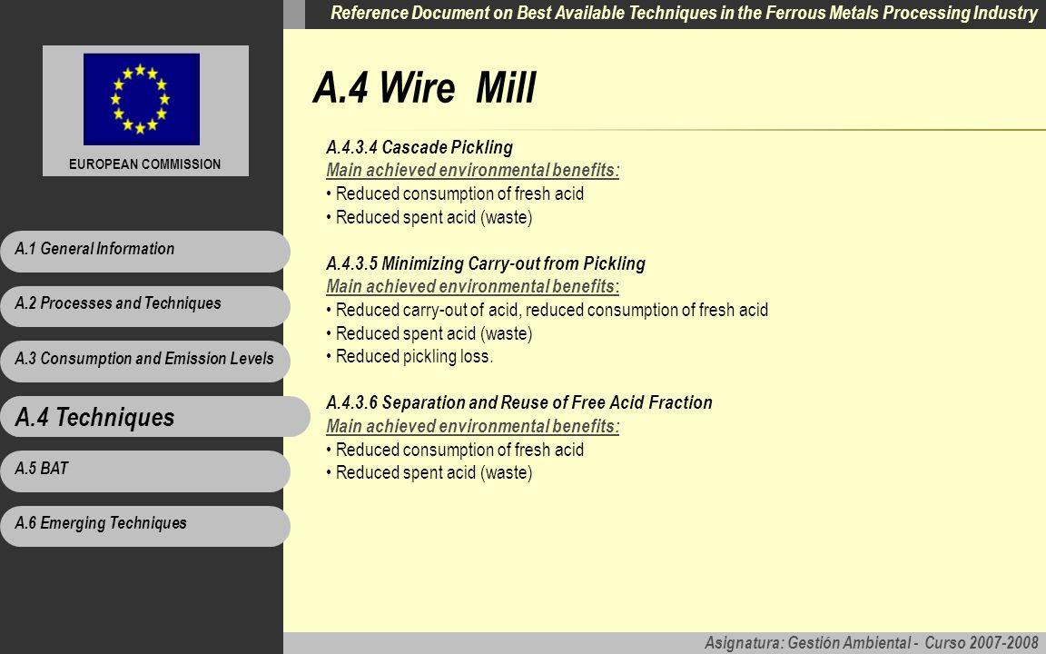 A.4 Wire Mill A.4 Techniques A.4.3.4 Cascade Pickling