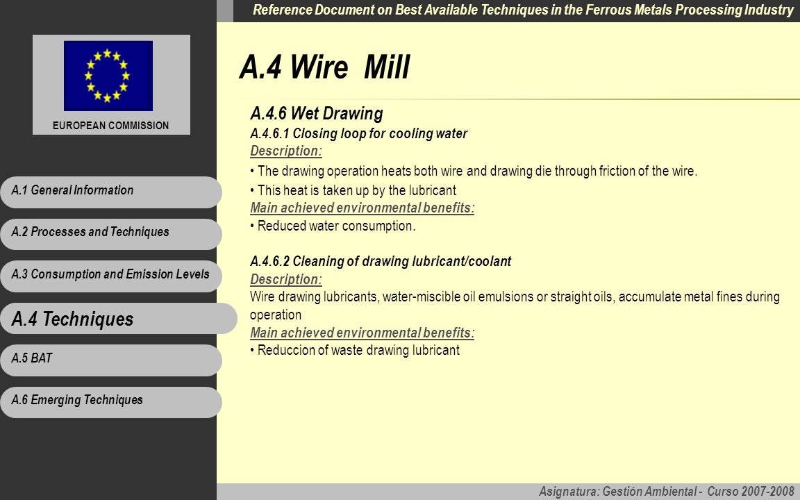 A.4 Wire Mill A.4 Techniques A.4.6 Wet Drawing