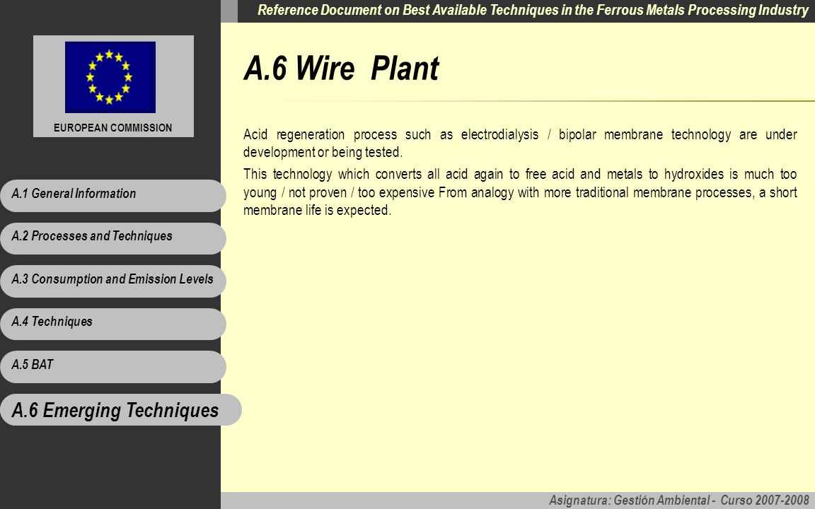 A.6 Wire Plant A.6 Emerging Techniques