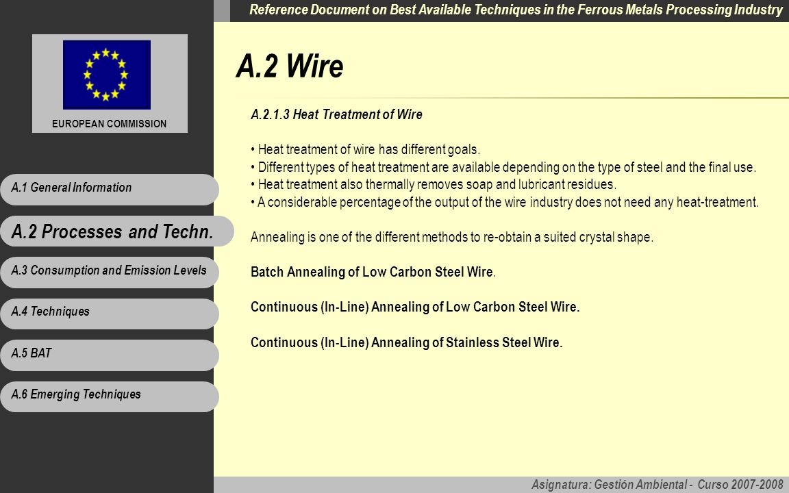 A.2 Wire A.2 Processes and Techn. A.2.1.3 Heat Treatment of Wire