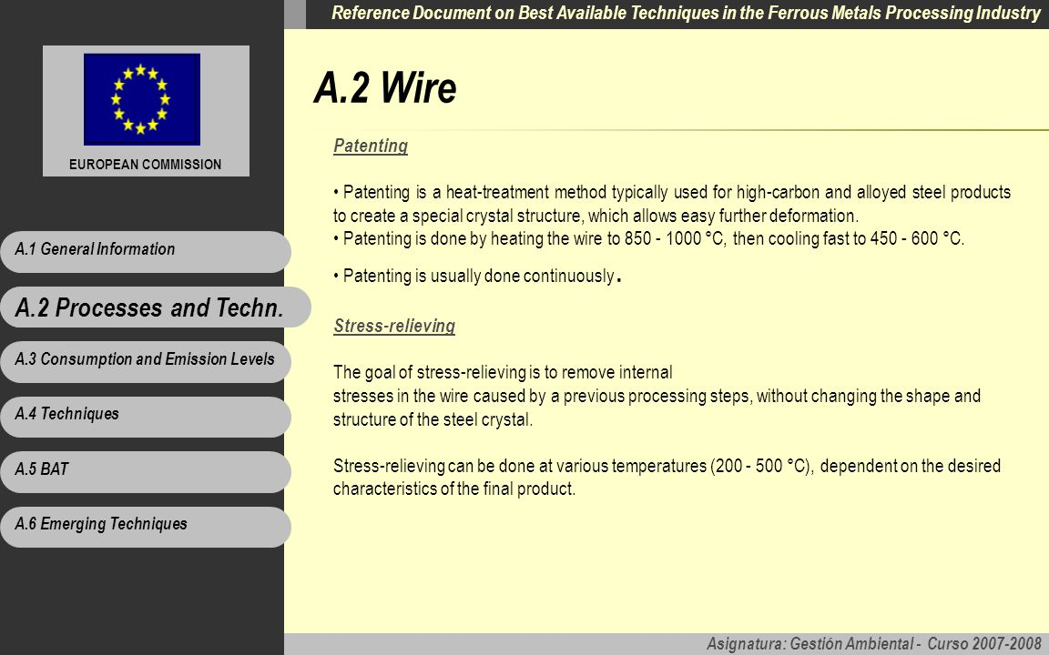 A.2 Wire A.2 Processes and Techn. Patenting