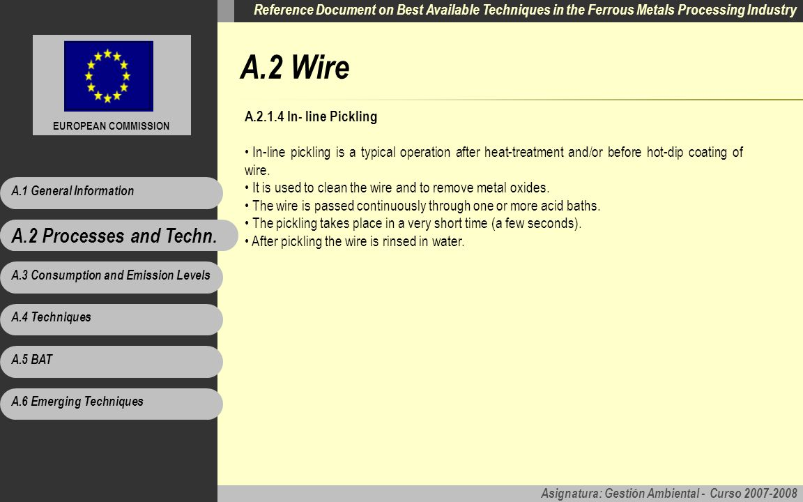 A.2 Wire A.2 Processes and Techn. A In- line Pickling