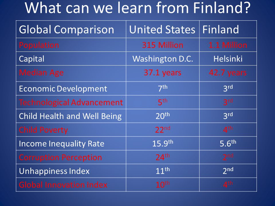 What can we learn from Finland