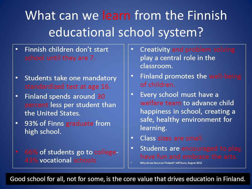What can we learn from the Finnish educational school system