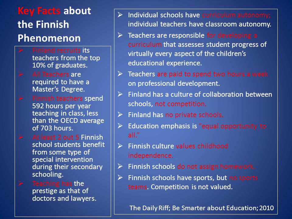 Key Facts about the Finnish Phenomenon