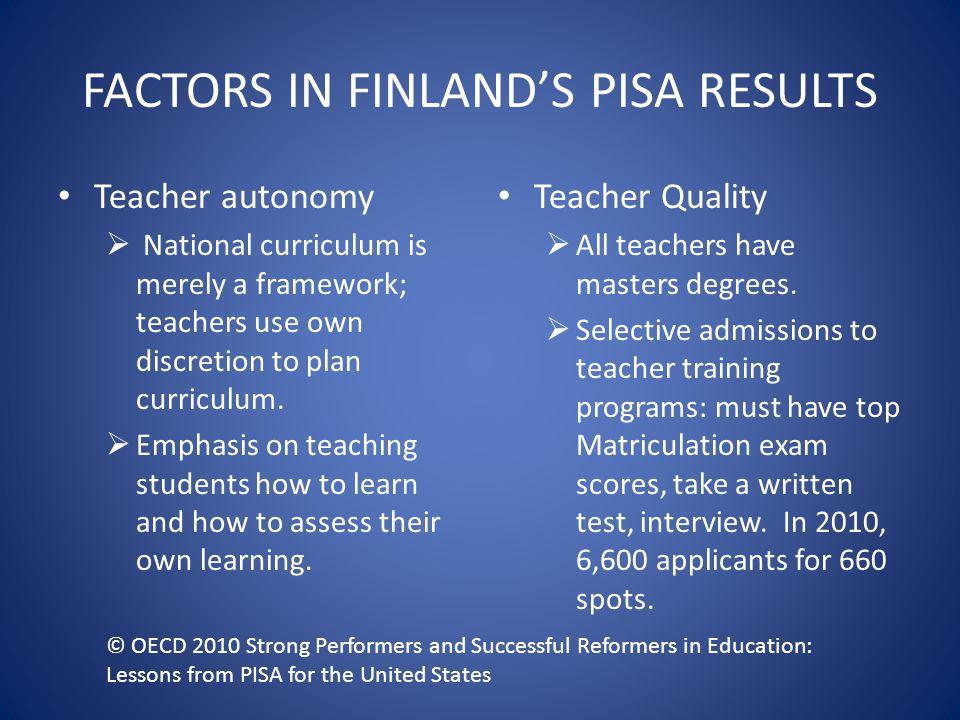 FACTORS IN FINLAND'S PISA RESULTS