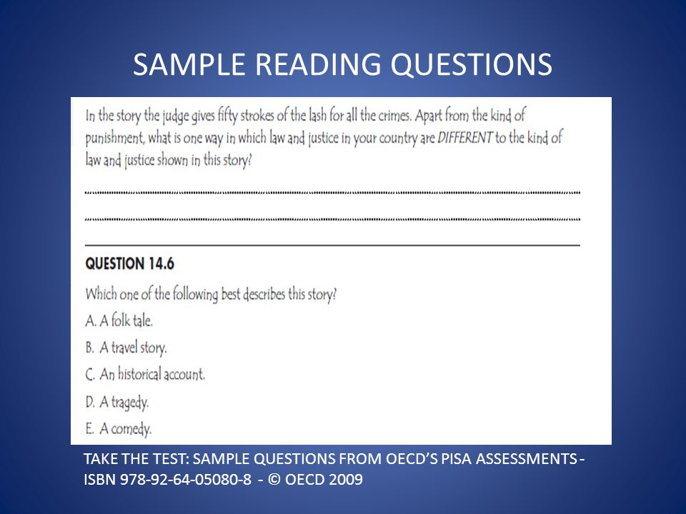SAMPLE READING QUESTIONS