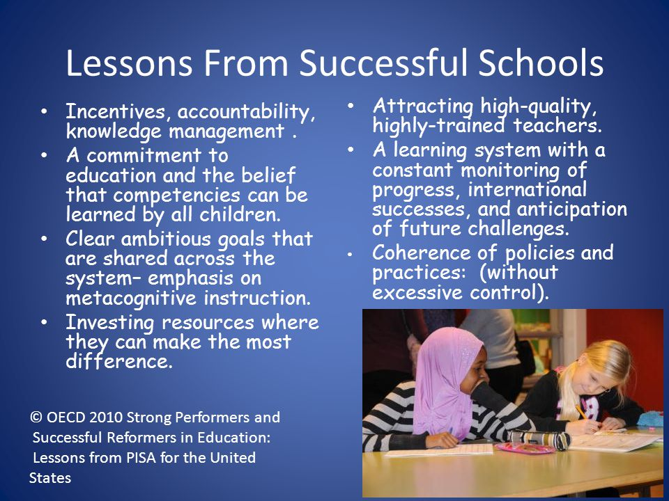 Lessons From Successful Schools
