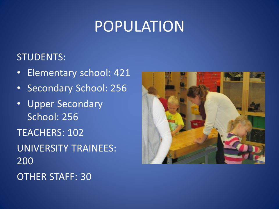 POPULATION STUDENTS: Elementary school: 421 Secondary School: 256