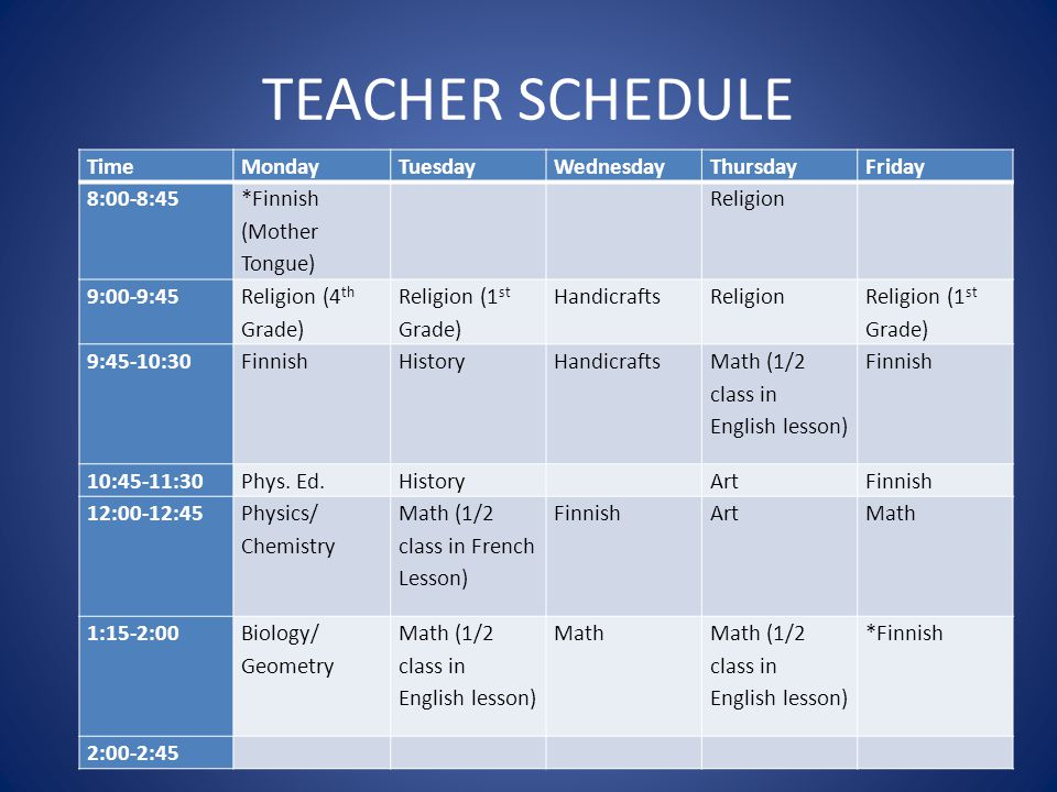 TEACHER SCHEDULE Time Monday Tuesday Wednesday Thursday Friday