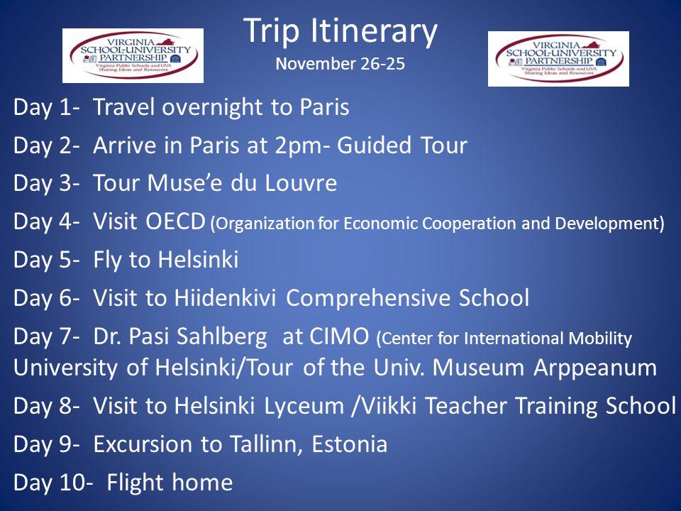 Trip Itinerary November 26-25