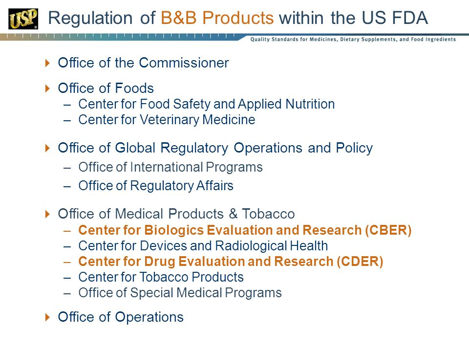 Regulation of B&B Products within the US FDA
