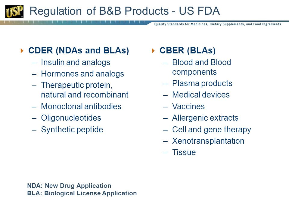 Regulation of B&B Products - US FDA