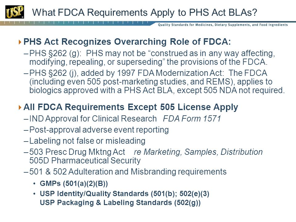 What FDCA Requirements Apply to PHS Act BLAs