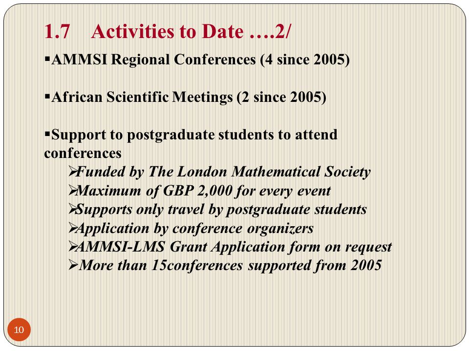 1.7 Activities to Date ….2/ AMMSI Regional Conferences (4 since 2005)