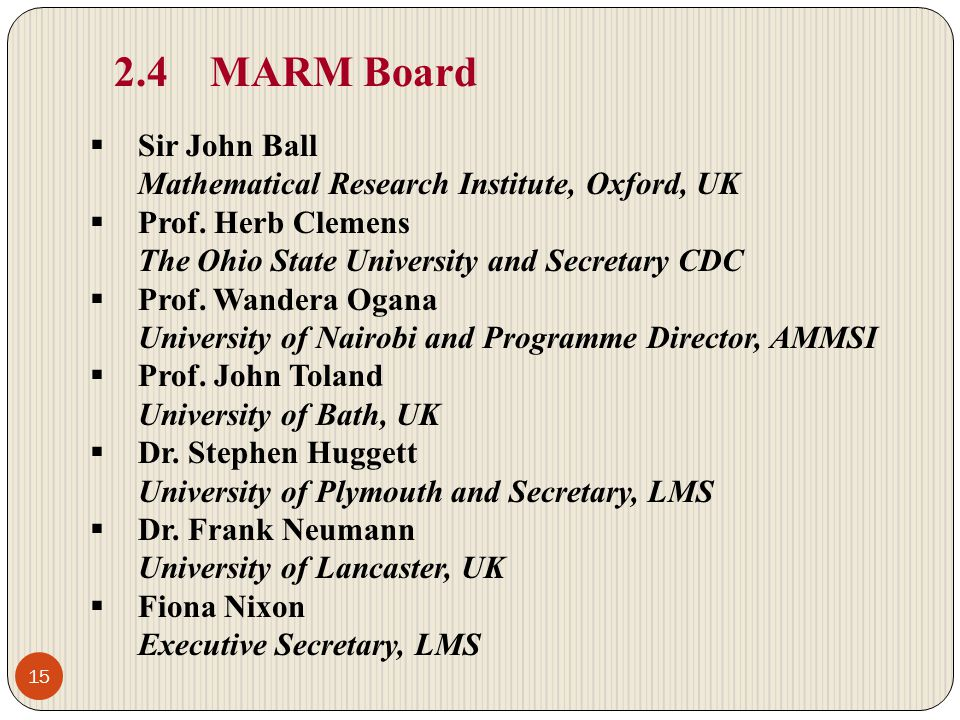2.4 MARM Board Sir John Ball