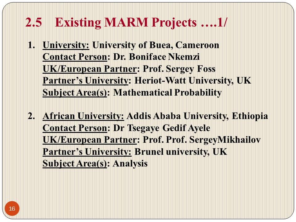 2.5 Existing MARM Projects ….1/