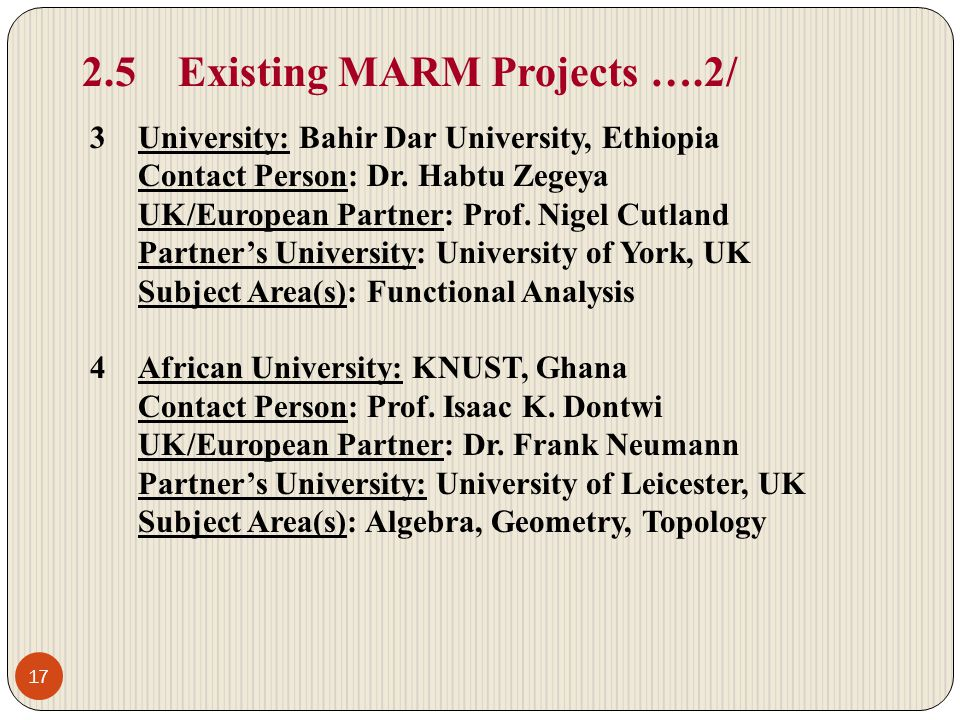 2.5 Existing MARM Projects ….2/