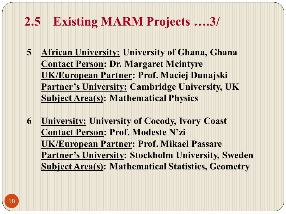 2.5 Existing MARM Projects ….3/