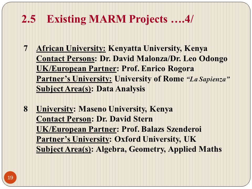 2.5 Existing MARM Projects ….4/