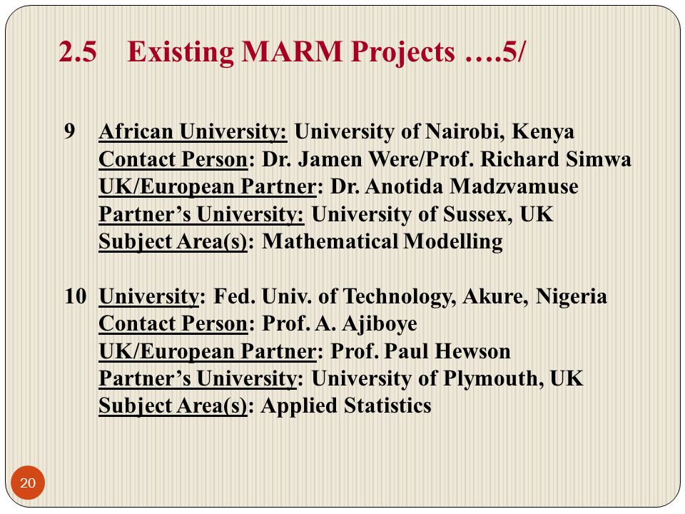 2.5 Existing MARM Projects ….5/