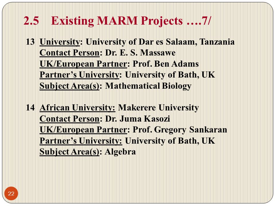 2.5 Existing MARM Projects ….7/